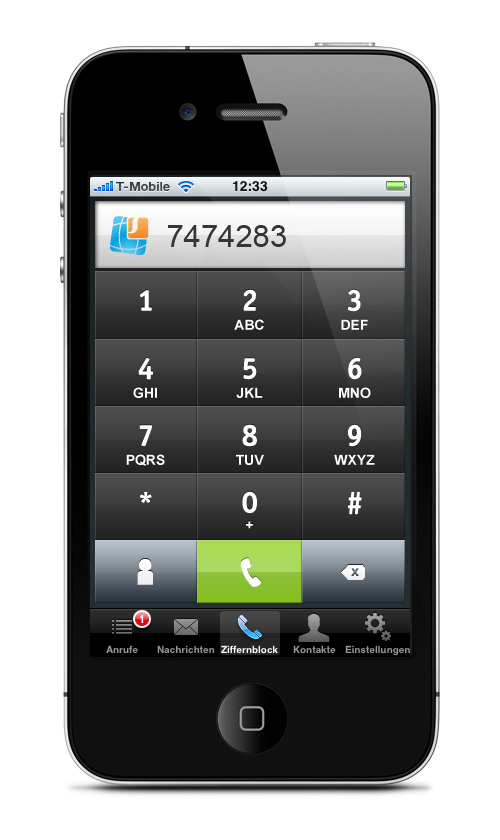 sipgate team iPhone App Dialpad